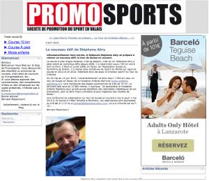 Article Stephane Abry - Promo sport