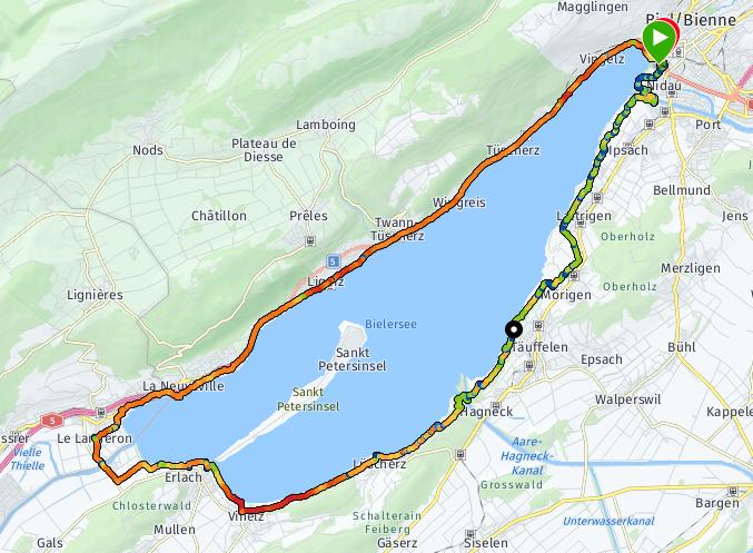 Tour du lac de Bienne en courant